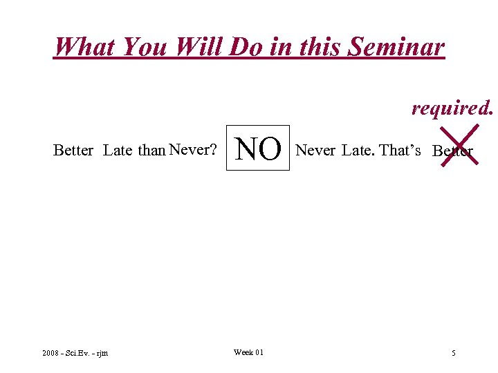 What You Will Do in this Seminar required. Better Late than Never? 2008 -