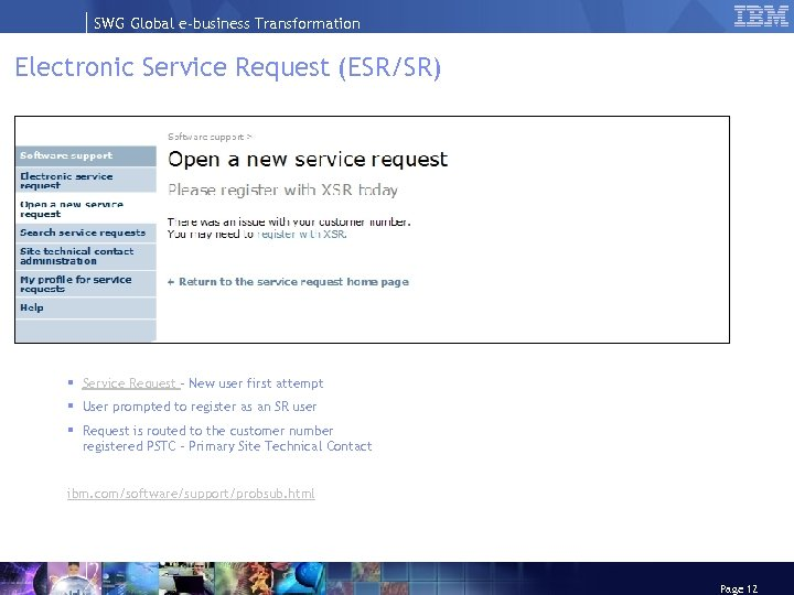 SWG Global e-business Transformation Electronic Service Request (ESR/SR) § Service Request – New user
