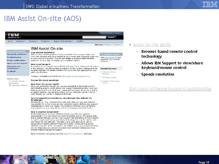 SWG Global e-business Transformation IBM Assist On-site (AOS) § Assist On-site (AOS) – Browser