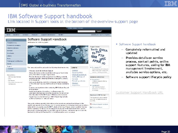 SWG Global e-business Transformation IBM Software Support handbook Link located in Support tools at