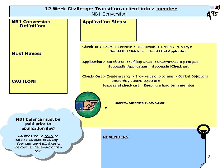 12 Week Challenge- Transition a client into a member NB 1 Conversion Definition: Must