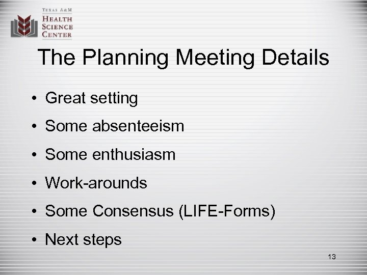 The Planning Meeting Details • Great setting • Some absenteeism • Some enthusiasm •