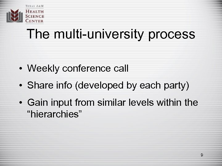 The multi-university process • Weekly conference call • Share info (developed by each party)