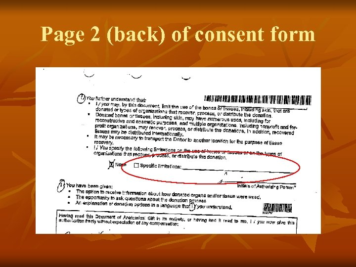 Page 2 (back) of consent form