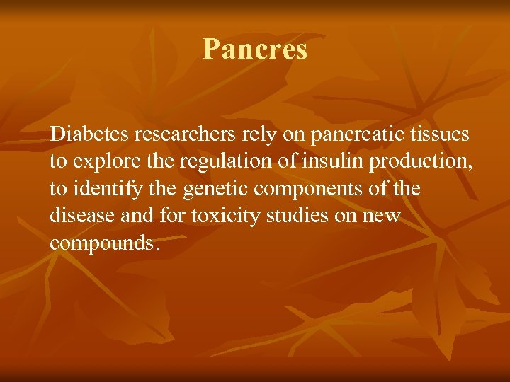 Pancres Diabetes researchers rely on pancreatic tissues to explore the regulation of insulin production,