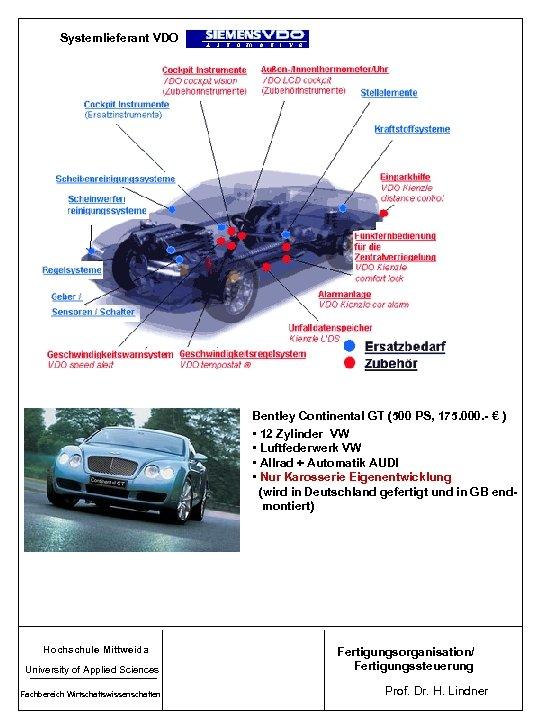 Systemlieferant VDO Bentley Continental GT (500 PS, 175. 000. - € ) • 12