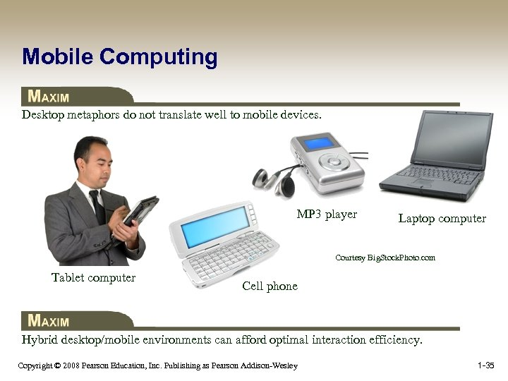 Mobile Computing Desktop metaphors do not translate well to mobile devices. MP 3 player