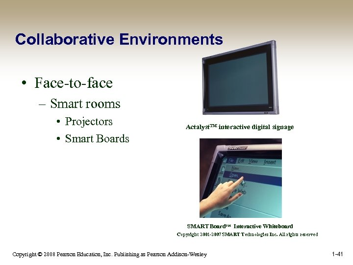 Collaborative Environments • Face-to-face – Smart rooms • Projectors • Smart Boards Actalyst. TM