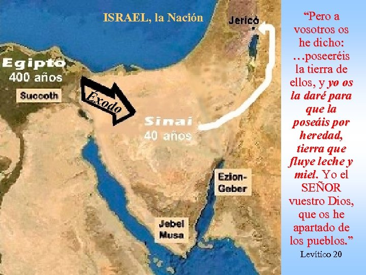 """ISRAEL, la Nación Éxo do """"Pero a vosotros os he dicho: …poseeréis la tierra"""