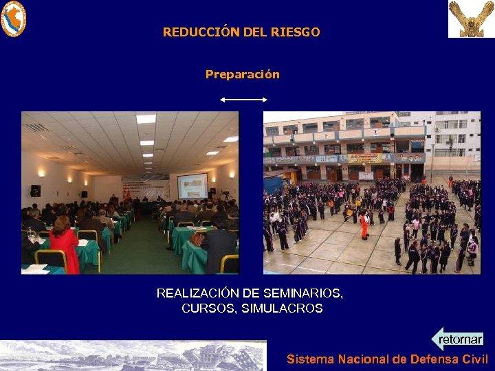 REDUCCIÓN DEL RIESGO Preparación REALIZACIÓN DE SEMINARIOS, CURSOS, SIMULACROS retornar Sistema Nacional de Defensa