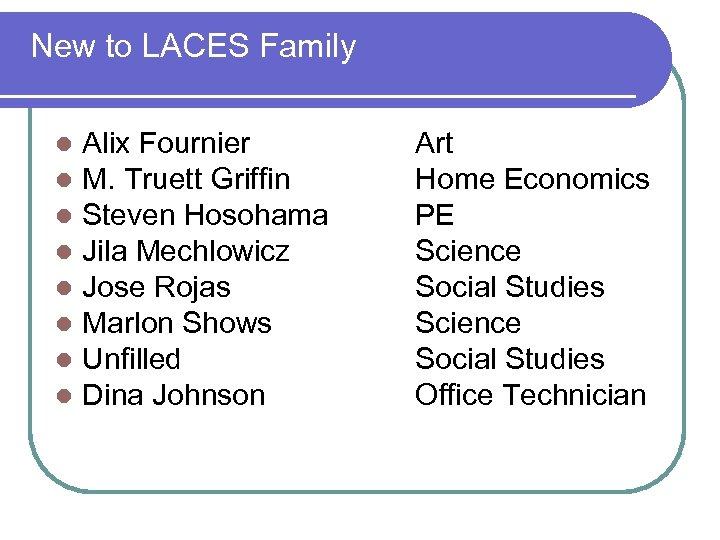 New to LACES Family l l l l Alix Fournier M. Truett Griffin Steven