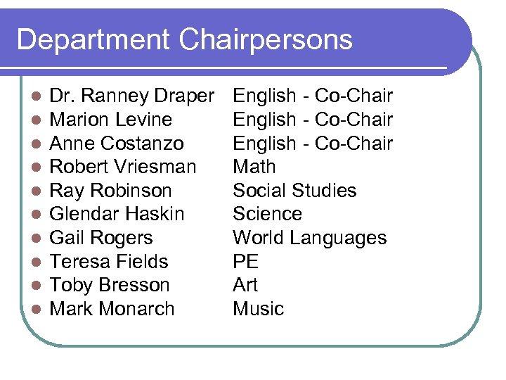 Department Chairpersons l l l l l Dr. Ranney Draper Marion Levine Anne Costanzo
