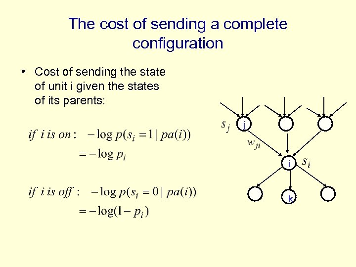 The cost of sending a complete configuration • Cost of sending the state of