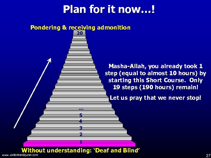 Plan for it now…! Pondering & receiving admonition 20 Masha-Allah, you already took 1