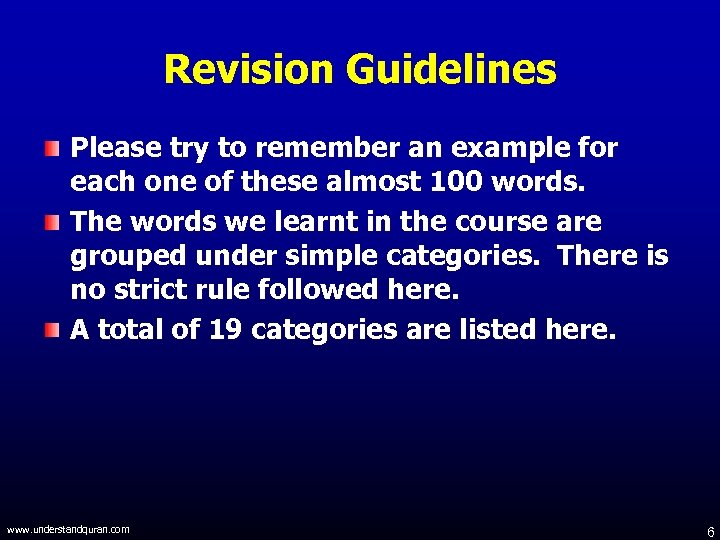 Revision Guidelines Please try to remember an example for each one of these almost