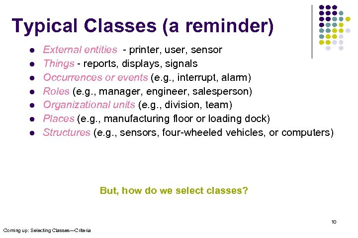 Typical Classes (a reminder) l l l l External entities - printer, user, sensor