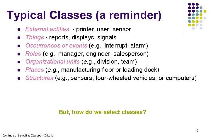 Typical Classes (a reminder) l l l l External entities - printer, user, sensor