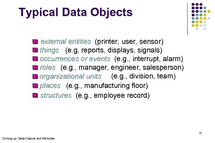 Typical Data Objects external entities (printer, user, sensor) things (e. g, reports, displays, signals)