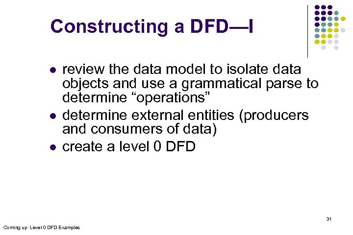 Constructing a DFD—I l l l review the data model to isolate data objects
