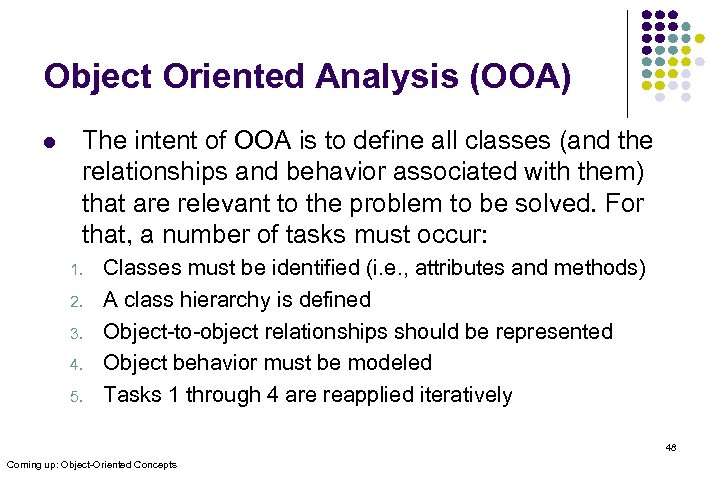 Object Oriented Analysis (OOA) l The intent of OOA is to define all classes