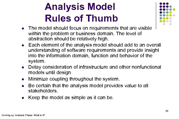 Analysis Model Rules of Thumb l l l The model should focus on requirements
