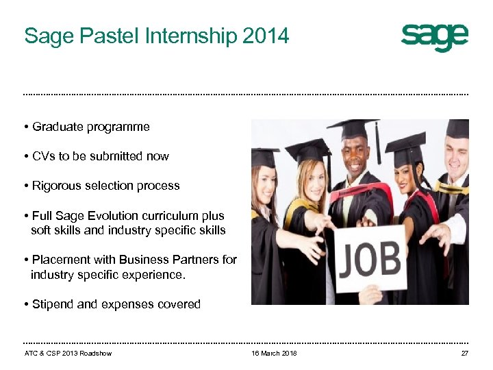 Sage Pastel Internship 2014 • Graduate programme • CVs to be submitted now •