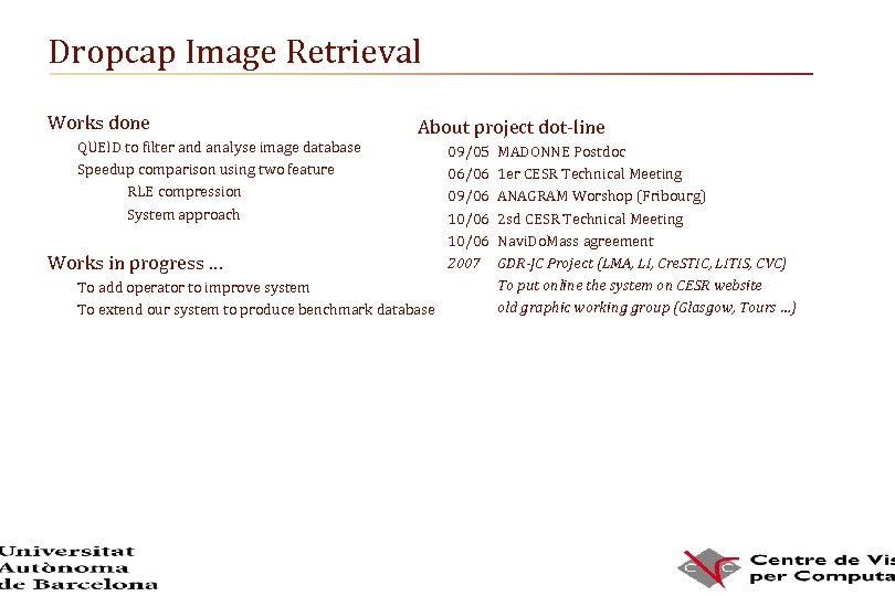 Dropcap Image Retrieval Works done QUEID to filter and analyse image database Speedup comparison