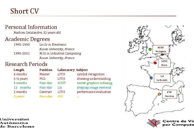 Short CV Personal Information Mathieu Delalandre, 32 years old Academic Degrees 1995 -1998 -2001