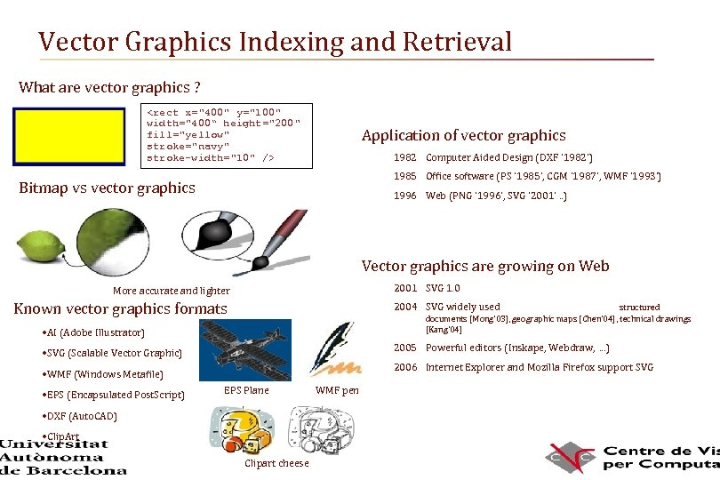 Vector Graphics Indexing and Retrieval What are vector graphics ? <rect x=