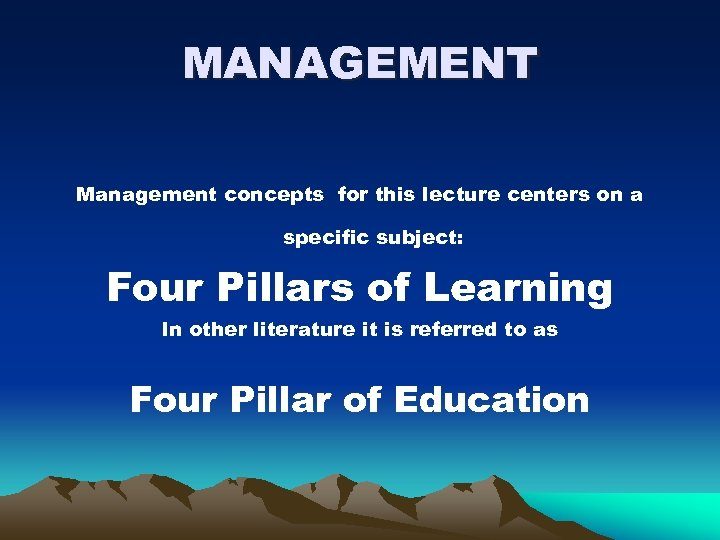 the four pillars of learning essay Flipped classroom or flipped learning is a methodology, an approach to learning in which technology is employed to reverse the traditional role of classroom time if in the past, classroom time is spent at lecturing to students , now in a flipped model, this time is utilized to encourage individualized learning.