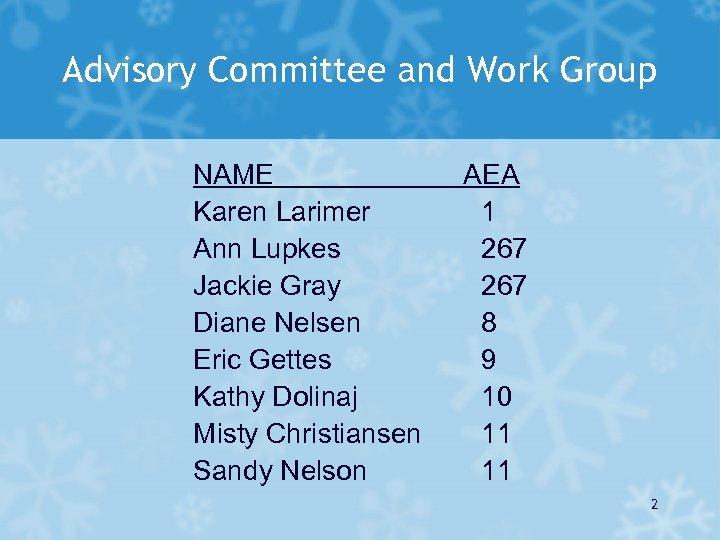 Advisory Committee and Work Group NAME Karen Larimer Ann Lupkes Jackie Gray Diane Nelsen