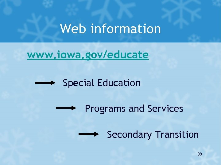 Web information www. iowa. gov/educate Special Education Programs and Services Secondary Transition 39