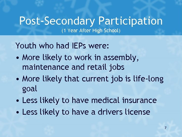 Post-Secondary Participation (1 Year After High School) Youth who had IEPs were: • More