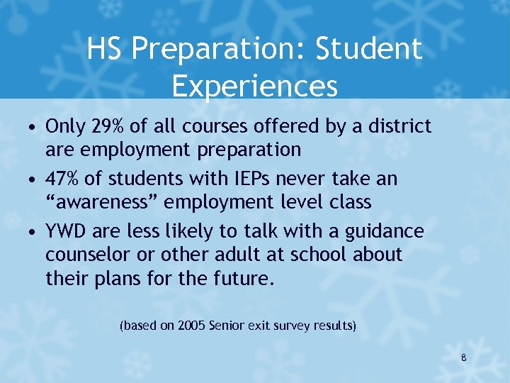 HS Preparation: Student Experiences • Only 29% of all courses offered by a district