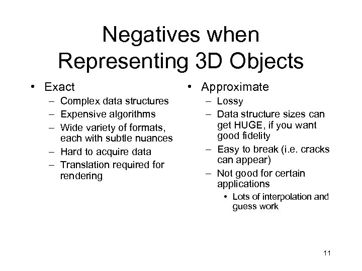 Negatives when Representing 3 D Objects • Exact – Complex data structures – Expensive