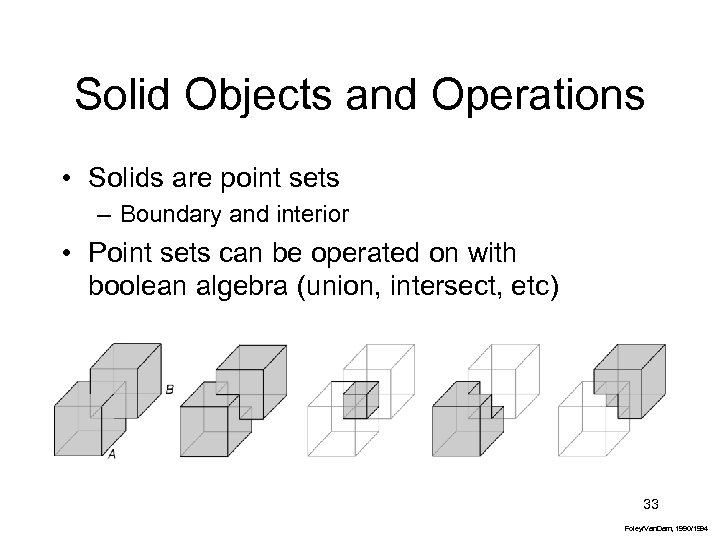 Solid Objects and Operations • Solids are point sets – Boundary and interior •