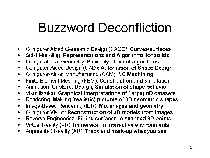 Buzzword Deconfliction • • • • Computer Aided Geometric Design (CAGD): Curves/surfaces Solid Modeling: