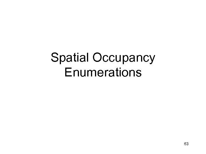 Spatial Occupancy Enumerations 63