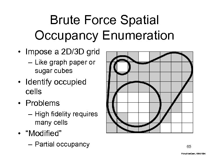 Brute Force Spatial Occupancy Enumeration • Impose a 2 D/3 D grid – Like