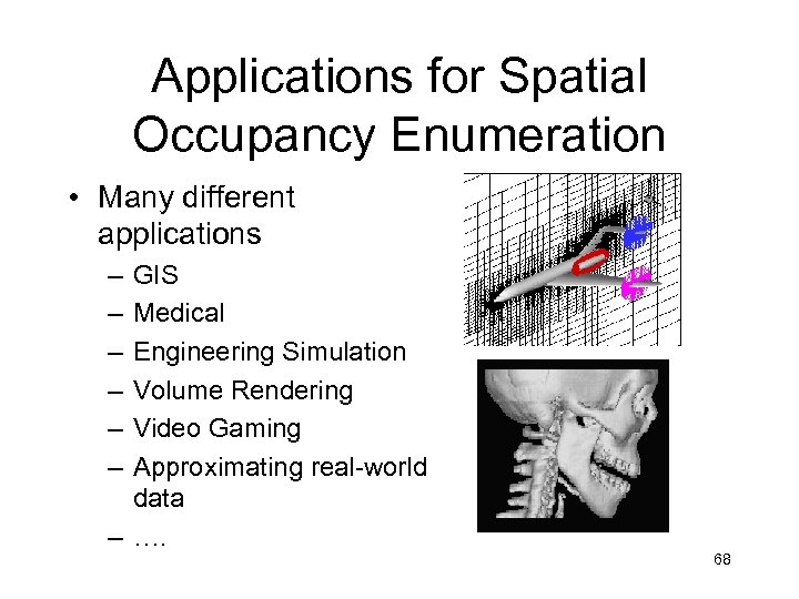 Applications for Spatial Occupancy Enumeration • Many different applications – – – GIS Medical