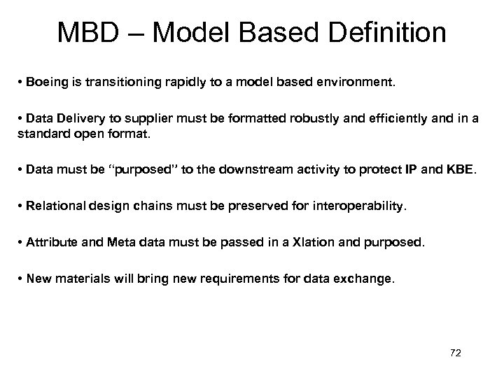 MBD – Model Based Definition • Boeing is transitioning rapidly to a model based