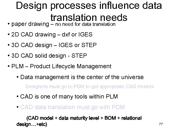 Design processes influence data translation needs • paper drawing – no need for data