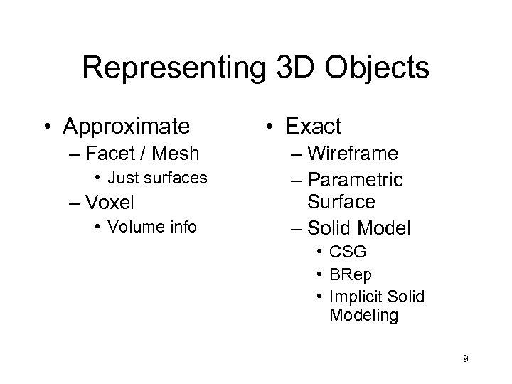 Representing 3 D Objects • Approximate – Facet / Mesh • Just surfaces –