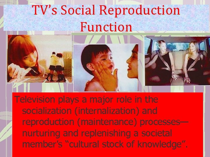 TV's Social Reproduction Function Television plays a major role in the socialization (internalization) and
