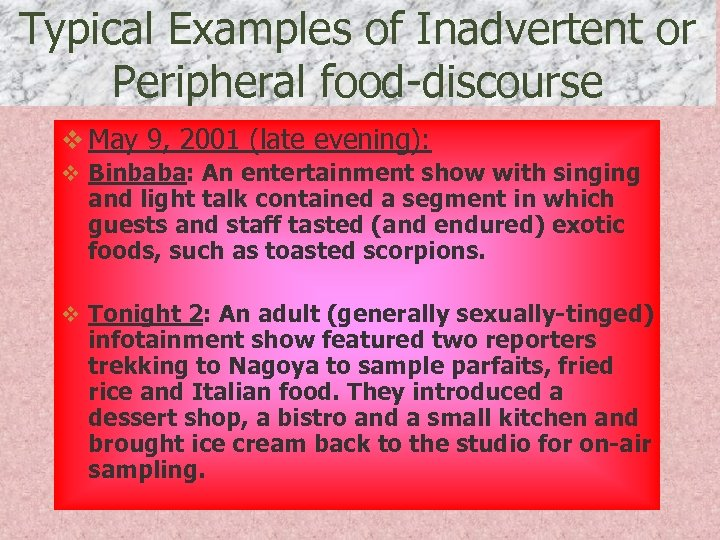Typical Examples of Inadvertent or Peripheral food-discourse v May 9, 2001 (late evening): v