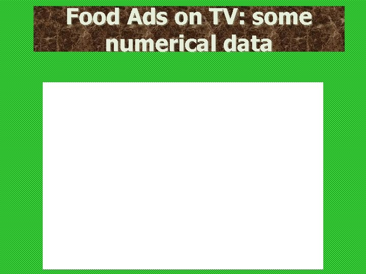 Food Ads on TV: some numerical data