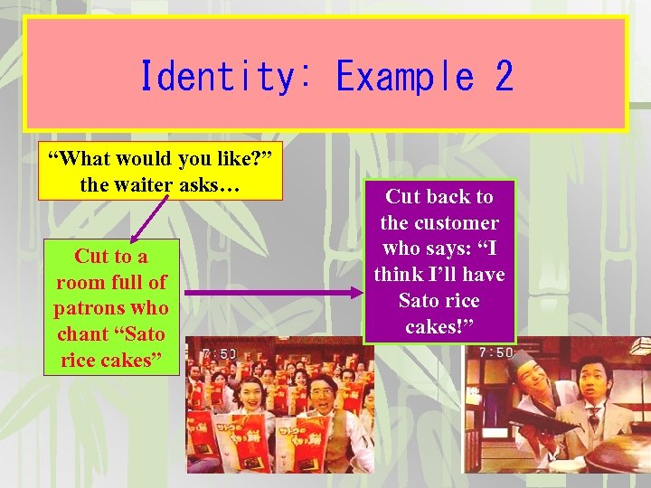 """Identity: Example 2 """"What would you like? """" the waiter asks… Cut to a"""