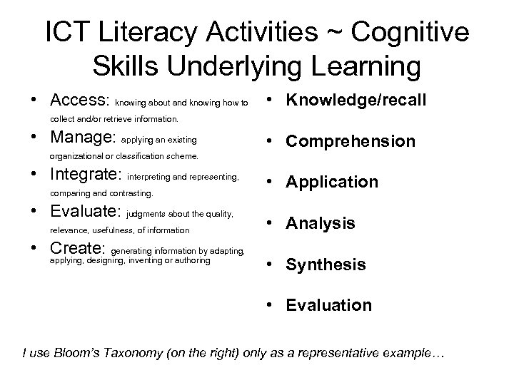 ICT Literacy Activities ~ Cognitive Skills Underlying Learning • Access: knowing about and knowing