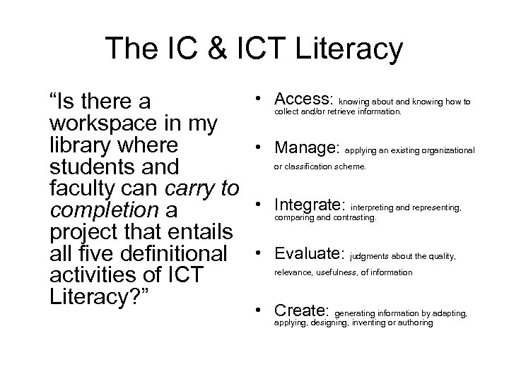 "The IC & ICT Literacy ""Is there a workspace in my library where students"