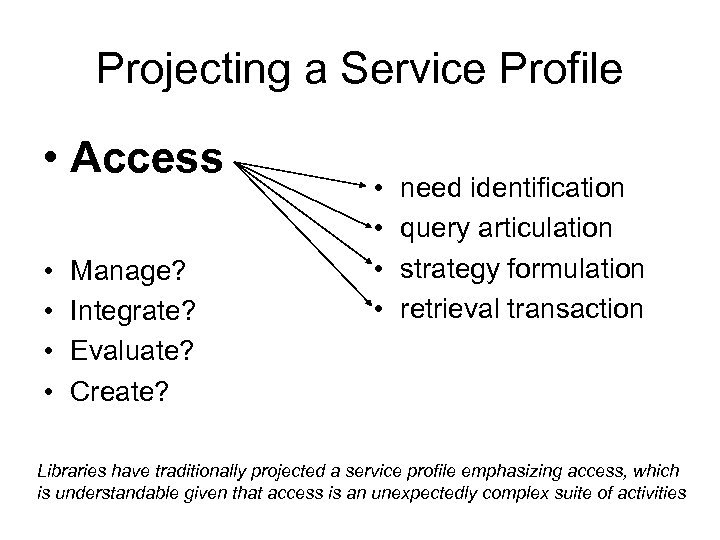 Projecting a Service Profile • Access • • Manage? Integrate? Evaluate? Create? • •